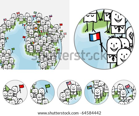 hand drawn cartoon characters - zoom & detail on world people - stock vector