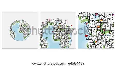 hand drawn cartoon characters - zoom on world people - stock vector
