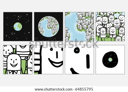 hand drawn cartoon characters - zoom on world people eyes - stock vector