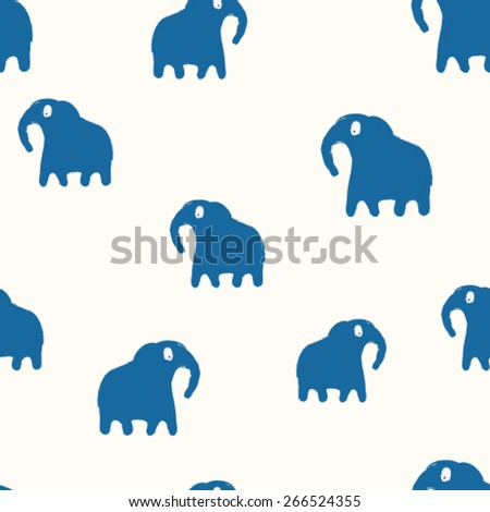 hand drawn cartoon elephants seamless pattern - stock vector