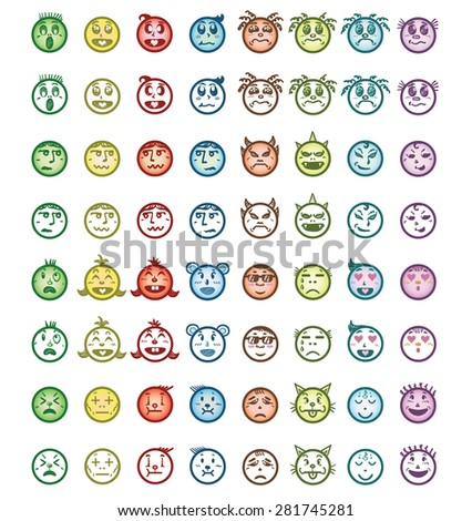 Hand drawn cartoon faces with difference emotions. Drawing vector - stock vector