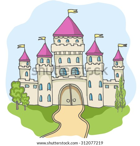 Hand drawn cartoon fairy tale castle icons, castle for princess doodle vector sketch, fairytale, game icon, cute magic castle kingdom illustration