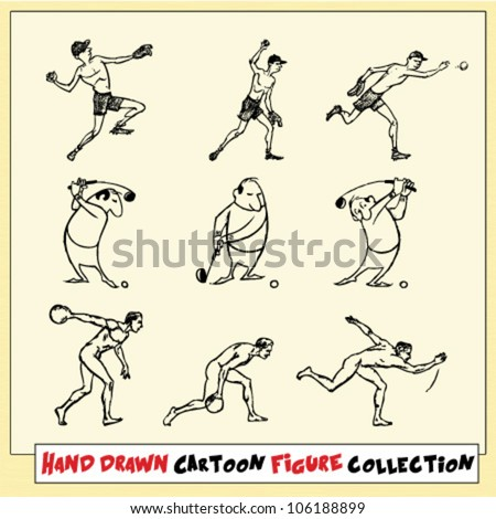 Hand drawn cartoon figures in motion on light yellow background (1) - stock vector
