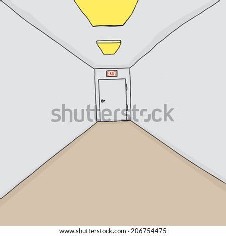 Hand drawn cartoon hallway background with single exit