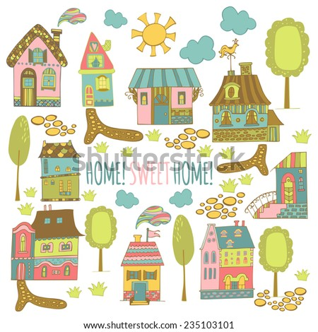 Hand drawn cartoon homes with environment. Colorful vector illustration