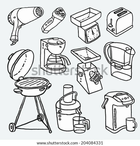 Hand-drawn cartoon illustrations with electric house appliances . Shaver, Hair Dryer, Toaster, Grill. Coffee Maker, Mincer, Water Filter, Thermo Pot, Juicer, Kitchen Scale.  Vector graphics set. - stock vector
