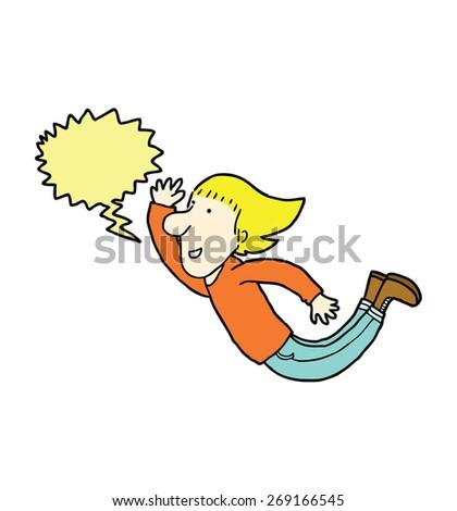 hand drawn cartoon man with speech bubble - stock vector