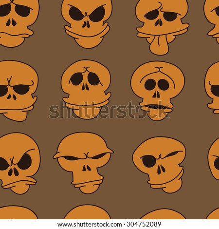 Hand drawn cartoon pattern of skulls.