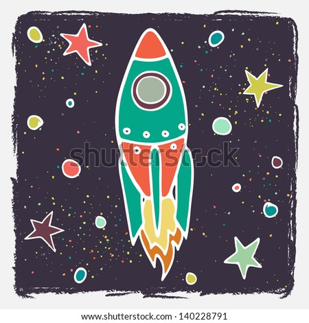 Hand drawn cartoon rocket and stars. Childish doodle space background. Vector illustration. - stock vector