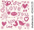 Hand-drawn cartoon romantic set in vector - stock vector