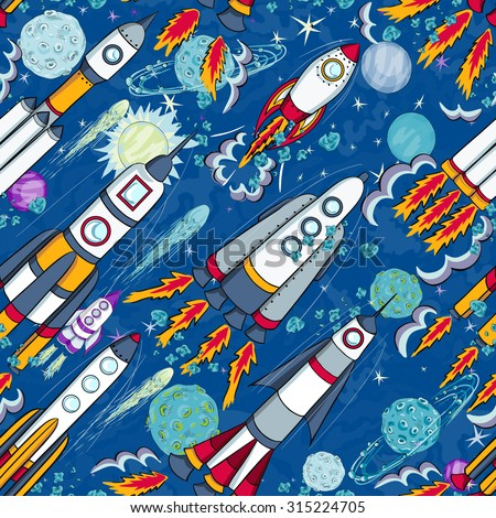 hand drawn cartoon space seamless pattern. rockets,  planets and stars - stock vector