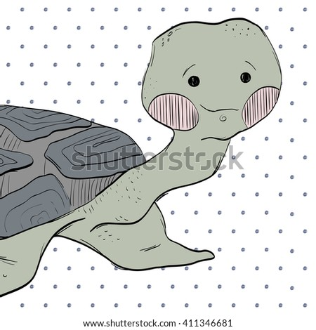 Hand drawn cartoon turtle.Can be used for congratulation or for cards, invitations, or baby shower albums, backgrounds and scrapbooks. - stock vector