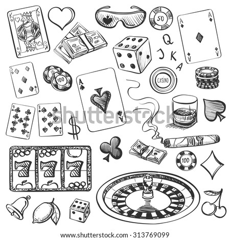 Hand drawn Casino Collection illustration with roulette, cards, cigar, whiskey, casino chip, jdice, money - stock vector