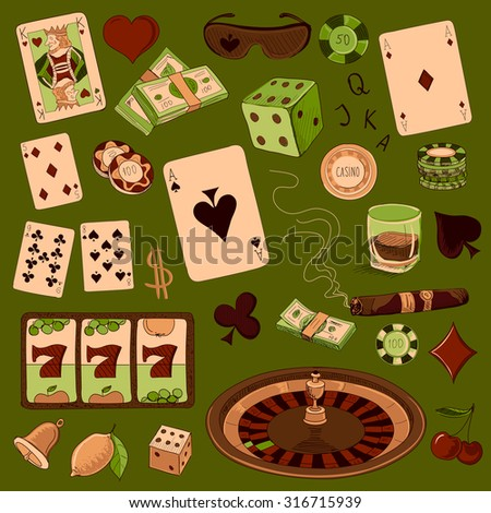 Hand drawn Casino icons set with a hand of aces playing cards, dice, roulette board, casino chips or tokens and lucky number 777 - stock vector
