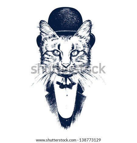 Hand drawn cat - stock vector