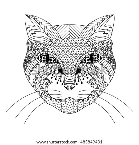 Hand Drawn Cat Coloring Book For Adults Vector Illustration Isolated On A