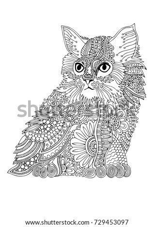 Hand Drawn Cat Sketch For Anti Stress Adult Coloring Book In Zen Tangle