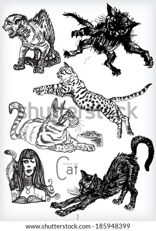 hand drawn cat vector set - stock vector