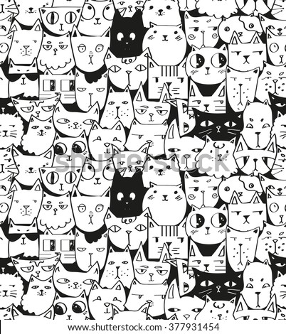 hand drawn cats seamless vector pattern stock vector