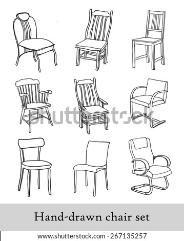 Handdrawn Chair Set Different Types Chairs Stock Vector 267135257    Shutterstock