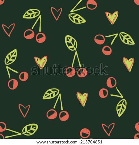 hand drawn chalk cherry and hearts childish seamless pattern, beautiful vector illustration - stock vector