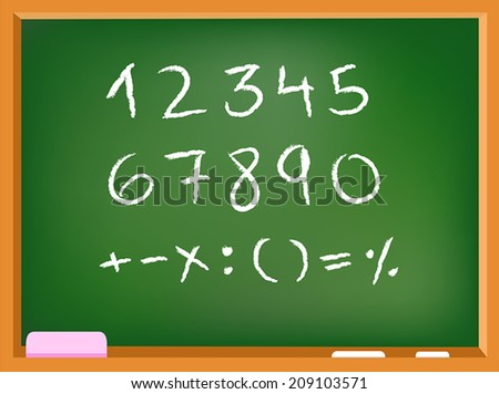 Hand drawn chalk numbers and math signs on a chalkboard - stock vector