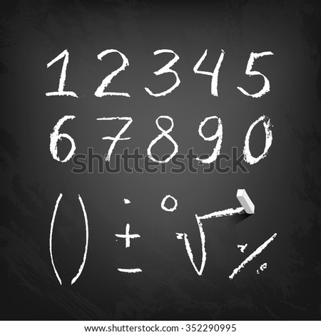 Hand drawn chalk numeral figures - stock vector