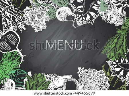 Hand-drawn chalkboard menu with Vegetables. Organic Food. - stock vector
