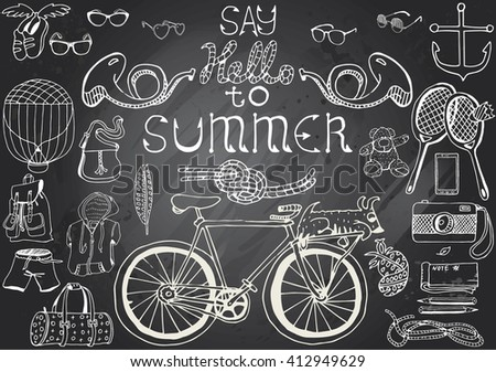 """Hand-drawn chalkboard with Summer Objects Set and text """"Say hello to Summer"""". - stock vector"""