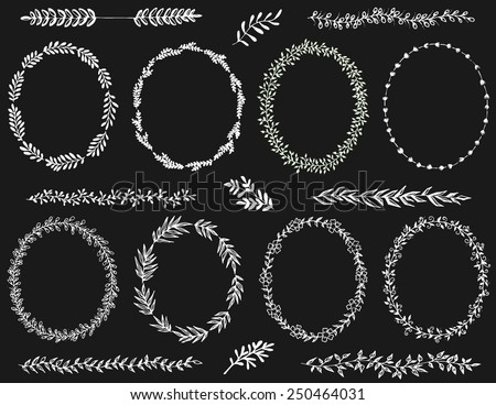 Hand drawn chalkboard wreaths and design elements