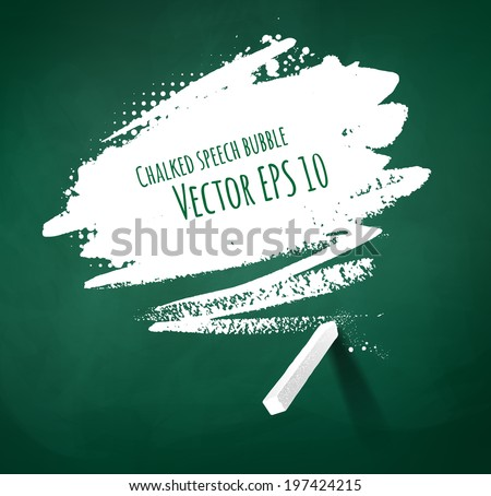 Hand drawn chalked speech bubble on green school board background. Isolated. - stock vector