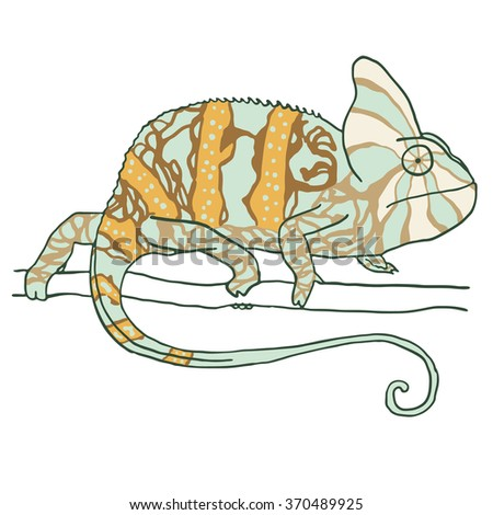 Hand drawn chameleon. Vector illustration isolated on white - stock vector