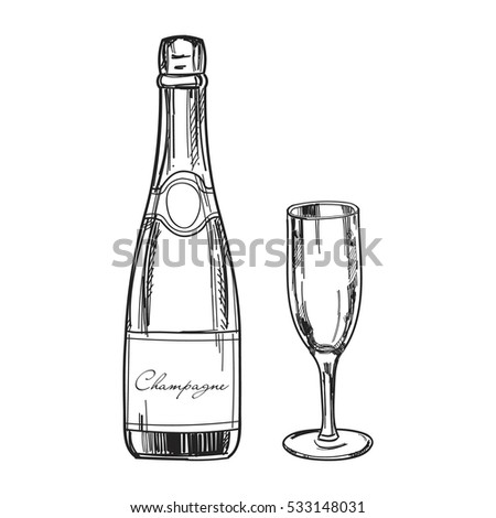 Hand Drawn Champagne Bottle Glass Champagne Stock Vector 533148031 ...