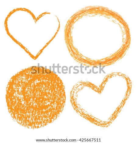 Hand drawn charcoal set of circles and heart shapes. Frames for design - stock vector