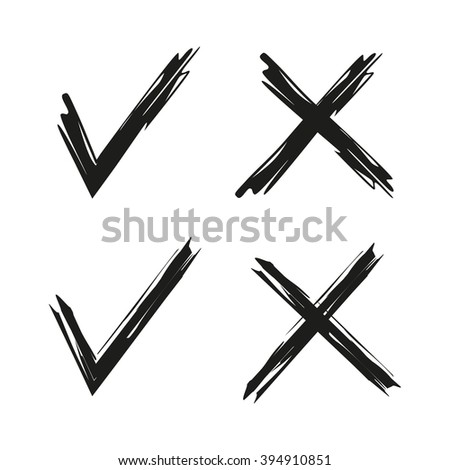 hand drawn check marks, ticks, confirmation acceptance positive passed voting - stock vector