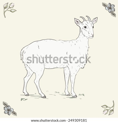 Hand drawn cheerful goat - stock vector