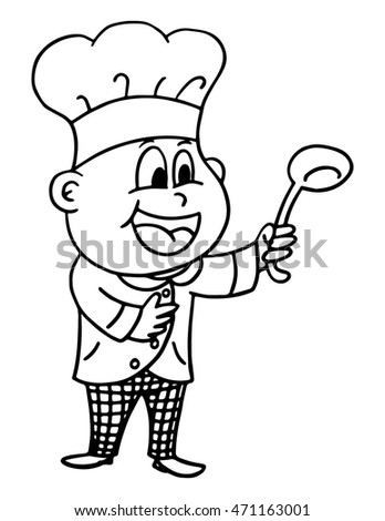 Hand drawn chef holding a ladle on white background