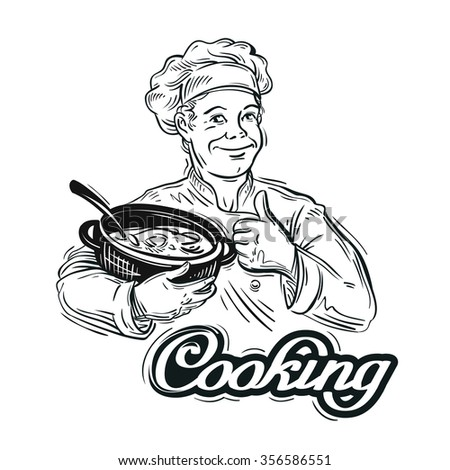 hand-drawn chef with a pot in hand on a white background. vector illustration