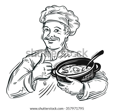 hand-drawn chef with a pot in his hand. vector illustration