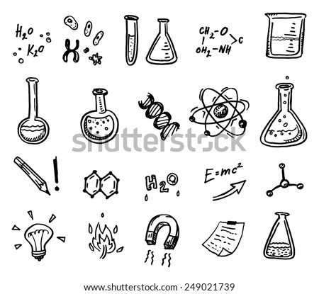 Hand drawn chemistry and science icons set. - stock vector