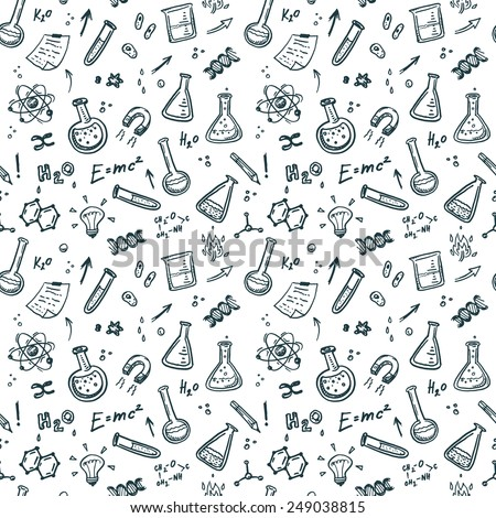 Hand Drawn Chemistry seamless pattern. Science background.  - stock vector