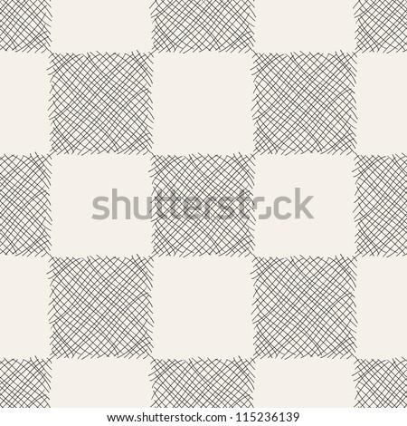 Hand drawn chessboard seamless pattern. Stylish cell - stock vector
