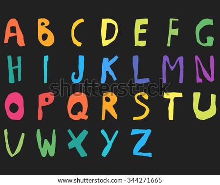 Hand drawn child English alphabet Color Bold. Vector illustration. - stock vector