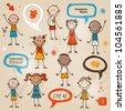 Hand-drawn children and speech bubbles set - stock vector