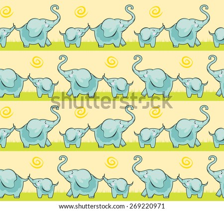 Hand Drawn Children cute elephant for a walk  seamless, yellow and blue color pattern family of elephants - stock vector