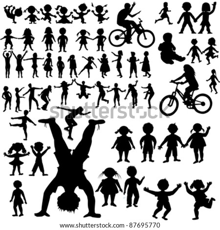 Hand drawn children silhouettes collection - stock vector