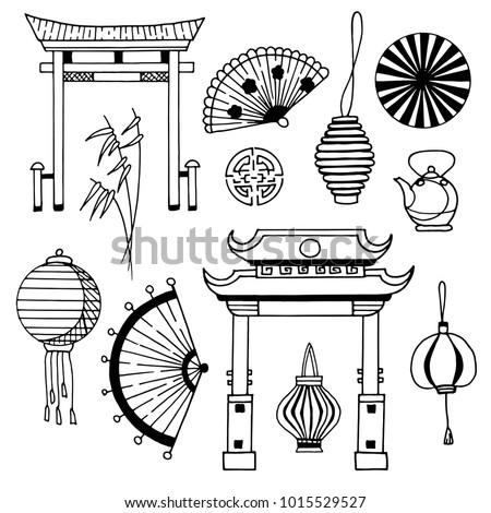 Hand Drawn China Traditional Symbols Set Stock Vector 2018