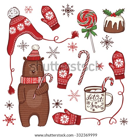 Hand drawn Christmas and New Year set. Funny winter bear in knitted hat and scarf, peppermint lollipops, enamel mug with hot chocolate, traditional Christmas pudding, knitted hat and mittens - stock vector