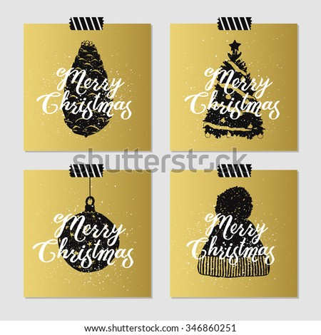 Hand drawn Christmas cards set with textured pine cone, christmas tree, decorative ball, and knitted hat vector illustrations. - stock vector