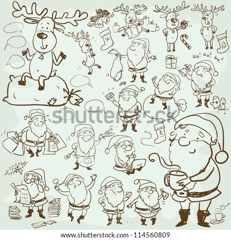 Hand drawn Christmas characters and elements, cartoon Santa and Rudolf, sketch - stock vector